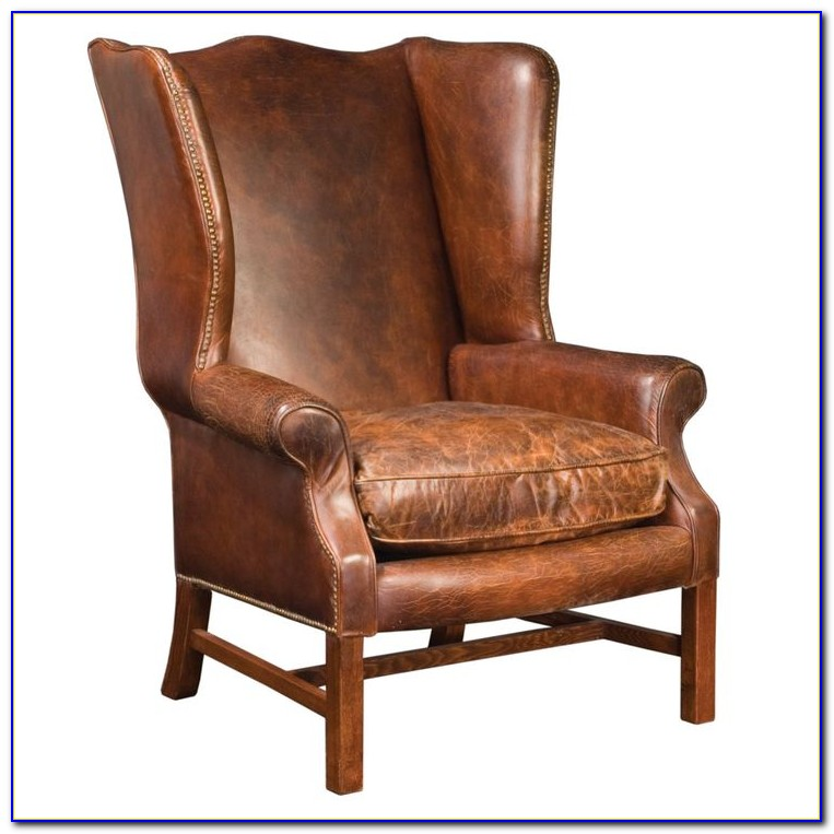 Brown Leather Wingback Armchair