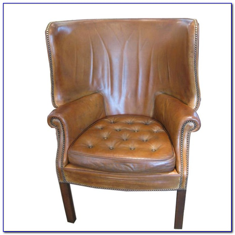Brown Leather Wingback Club Chair