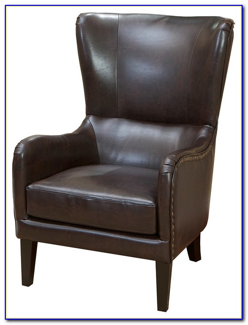 Brown Leather Wingback Dining Chair
