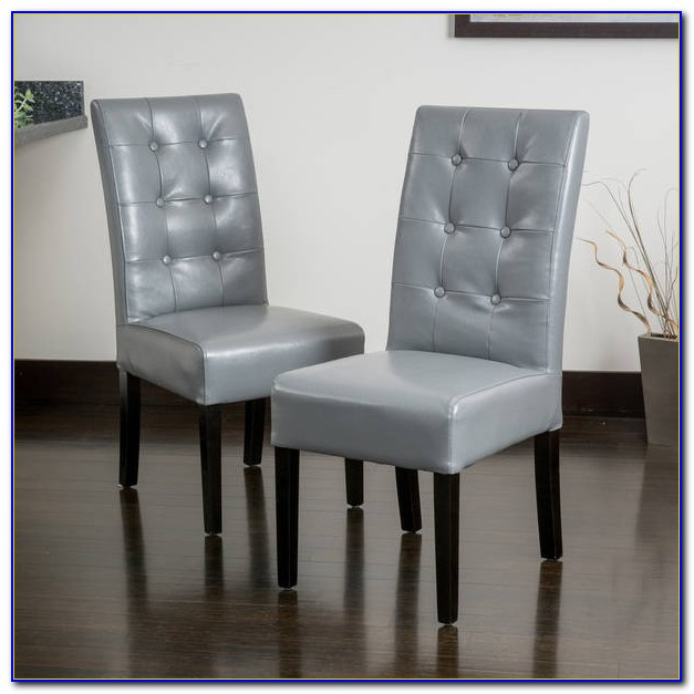 Cream Leather Tufted Dining Chairs