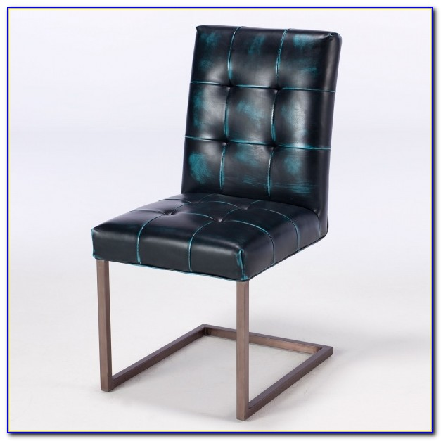 Dark Blue Upholstered Dining Chairs
