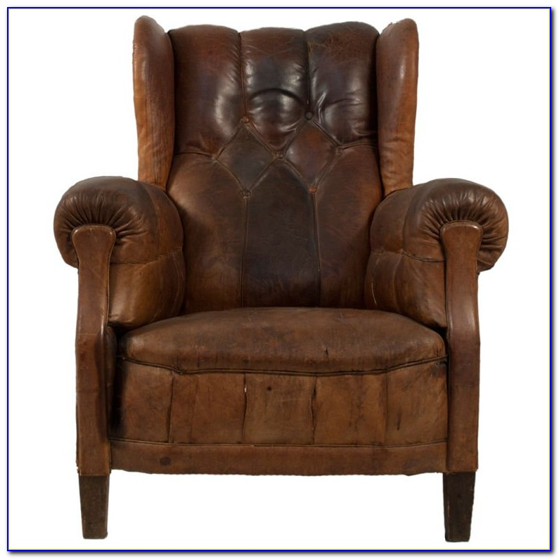 Dark Brown Leather Wing Chair