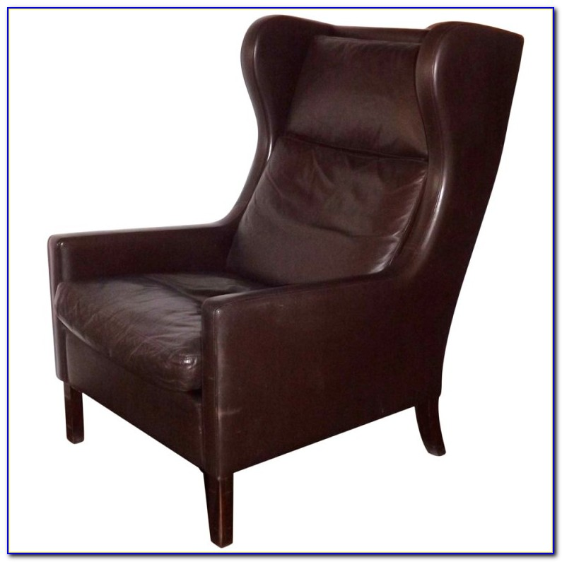 Dark Brown Leather Wingback Chair