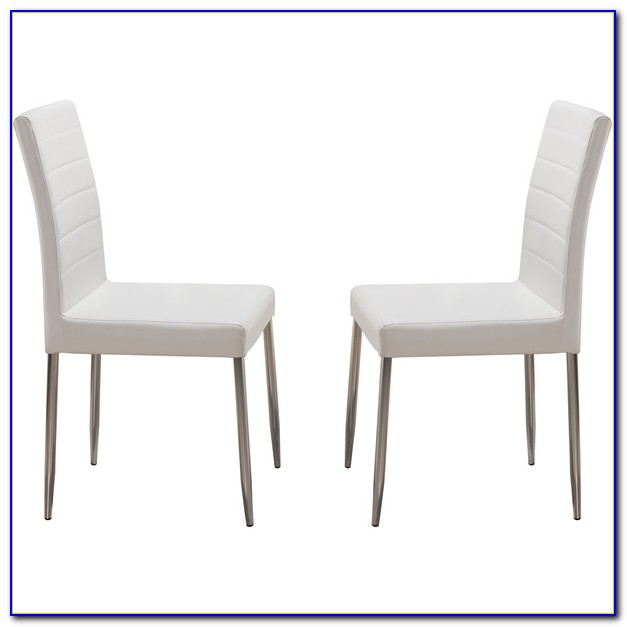 Distressed White Metal Dining Chairs