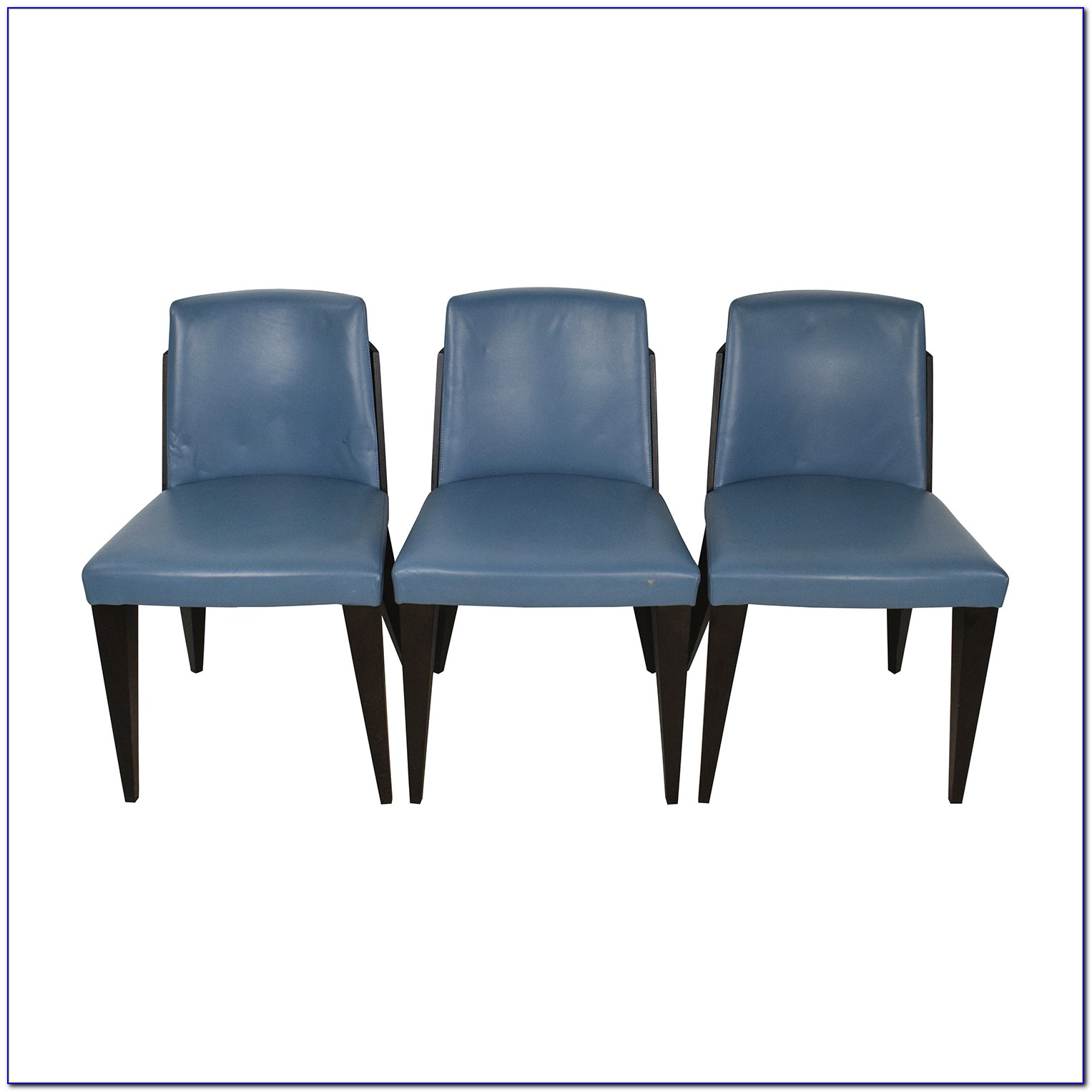 Duck Egg Blue Leather Dining Chairs