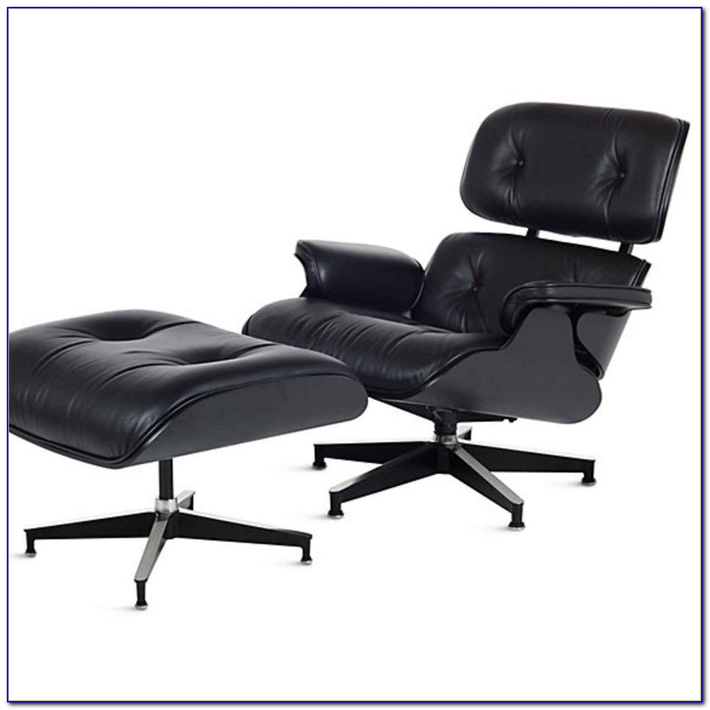 Eames Leather Chair And Ottoman Black