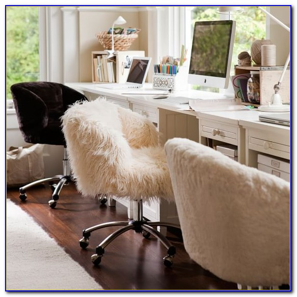 Faux Fur Desk Chair With Arms