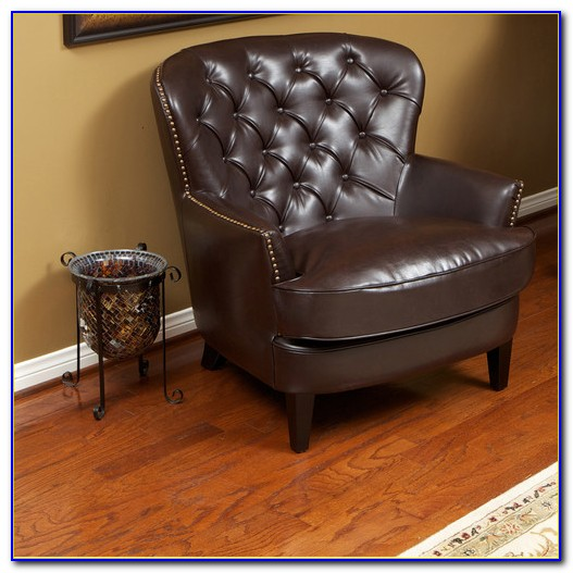 Franklin Brown Tufted Leather Club Chair