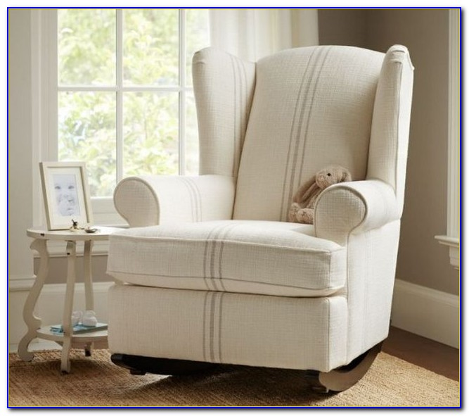 Gray And White Nursery Rocking Chair