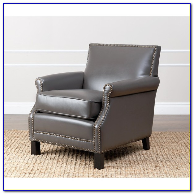 Grey Leather Club Chair