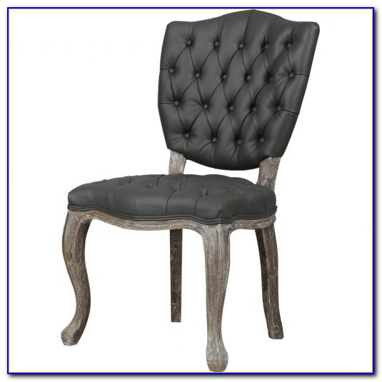 Grey Leather Tufted Dining Chairs
