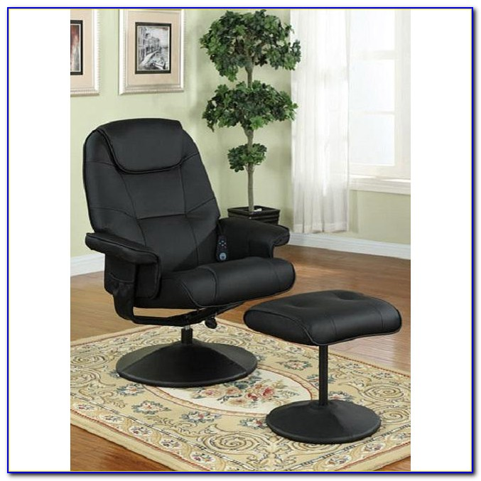 Ikea Black Leather Chair And Ottoman
