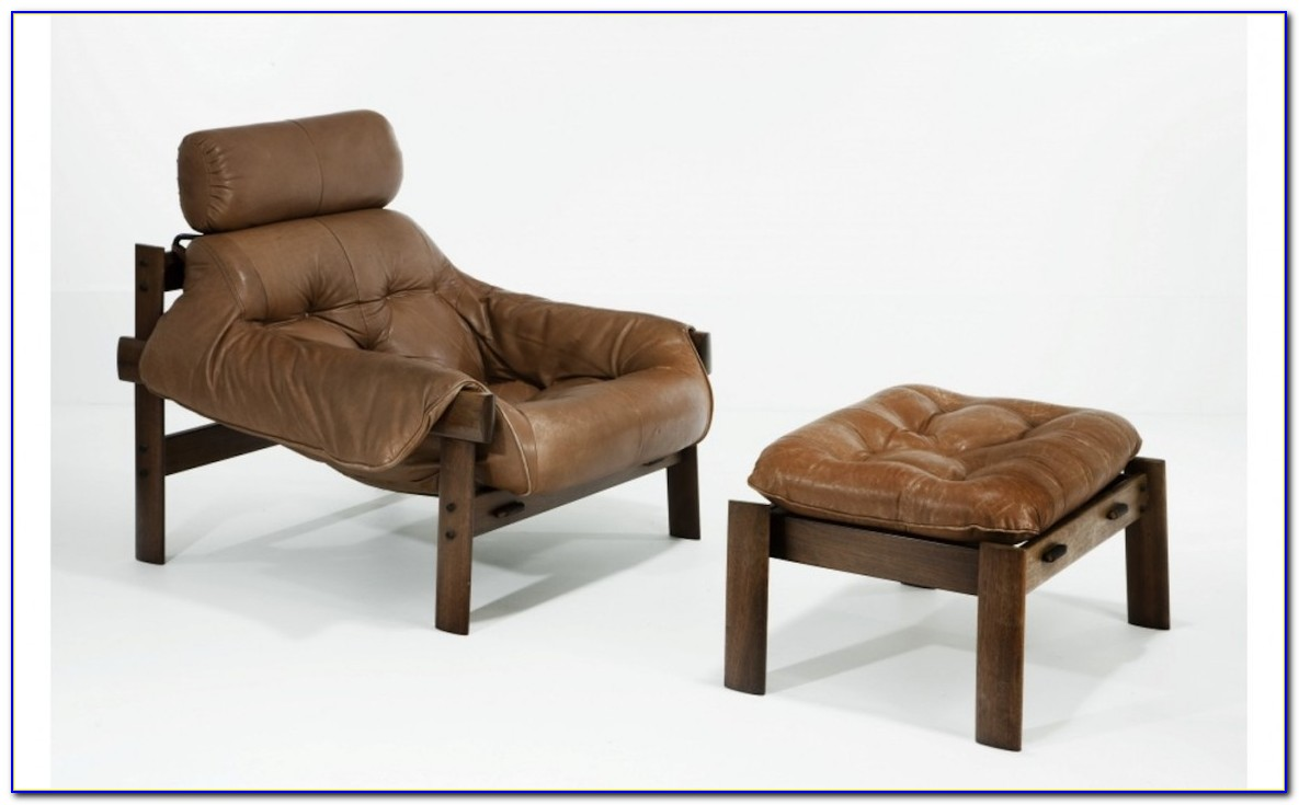 Leather Reclining Chair And Ottoman Set