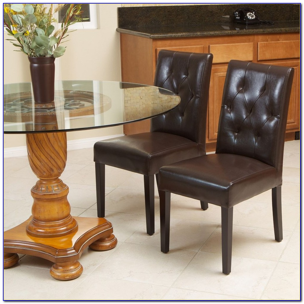 Leather Tufted Nailhead Dining Chairs