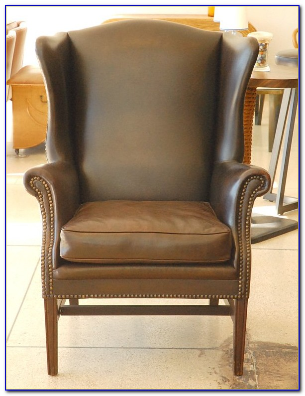 Light Brown Leather Wingback Chair