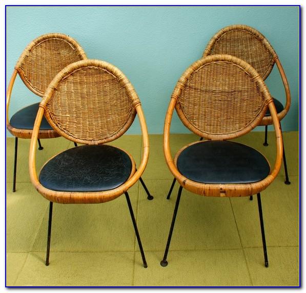Mid Century Rattan Swivel Chair