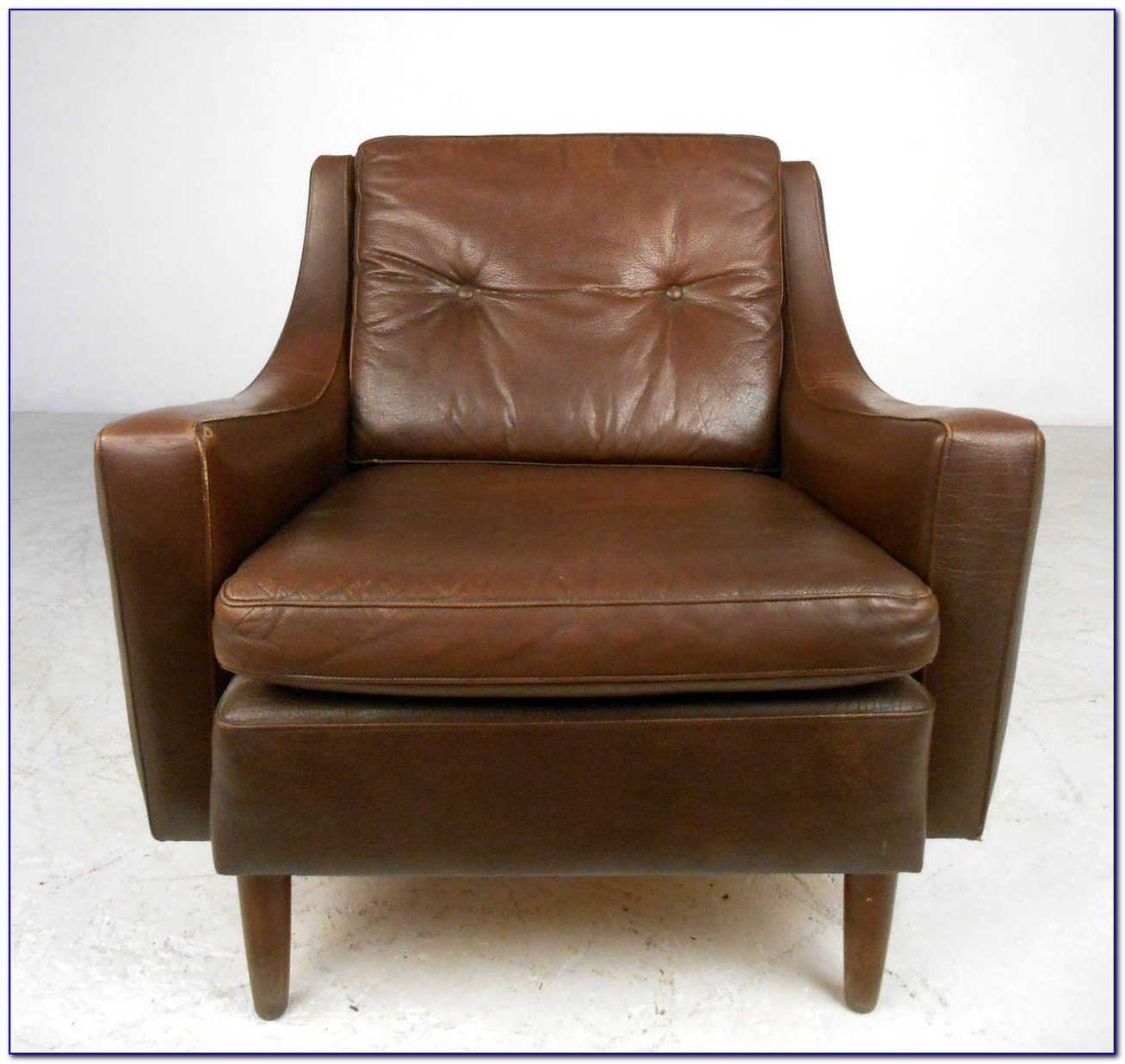 Mid Century Wood Leather Chair
