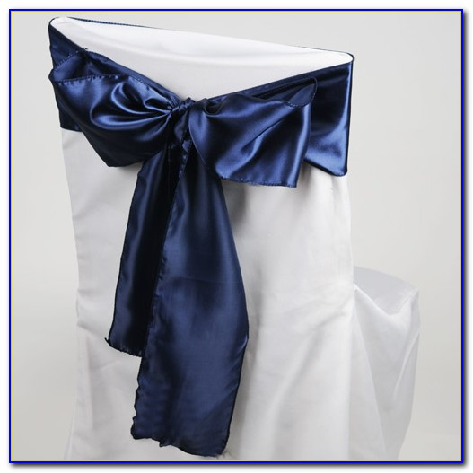 Navy Blue Chair Bows