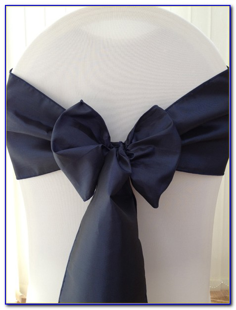 Navy Blue Satin Chair Sashes