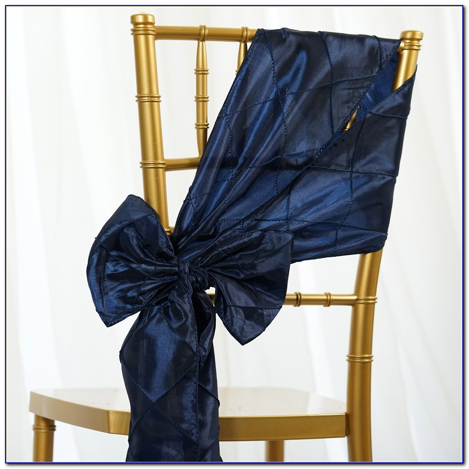 Navy Blue Wedding Chair Sashes