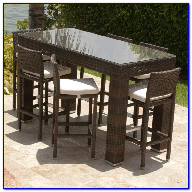 Outdoor Furniture Bar Height Table And Chairs