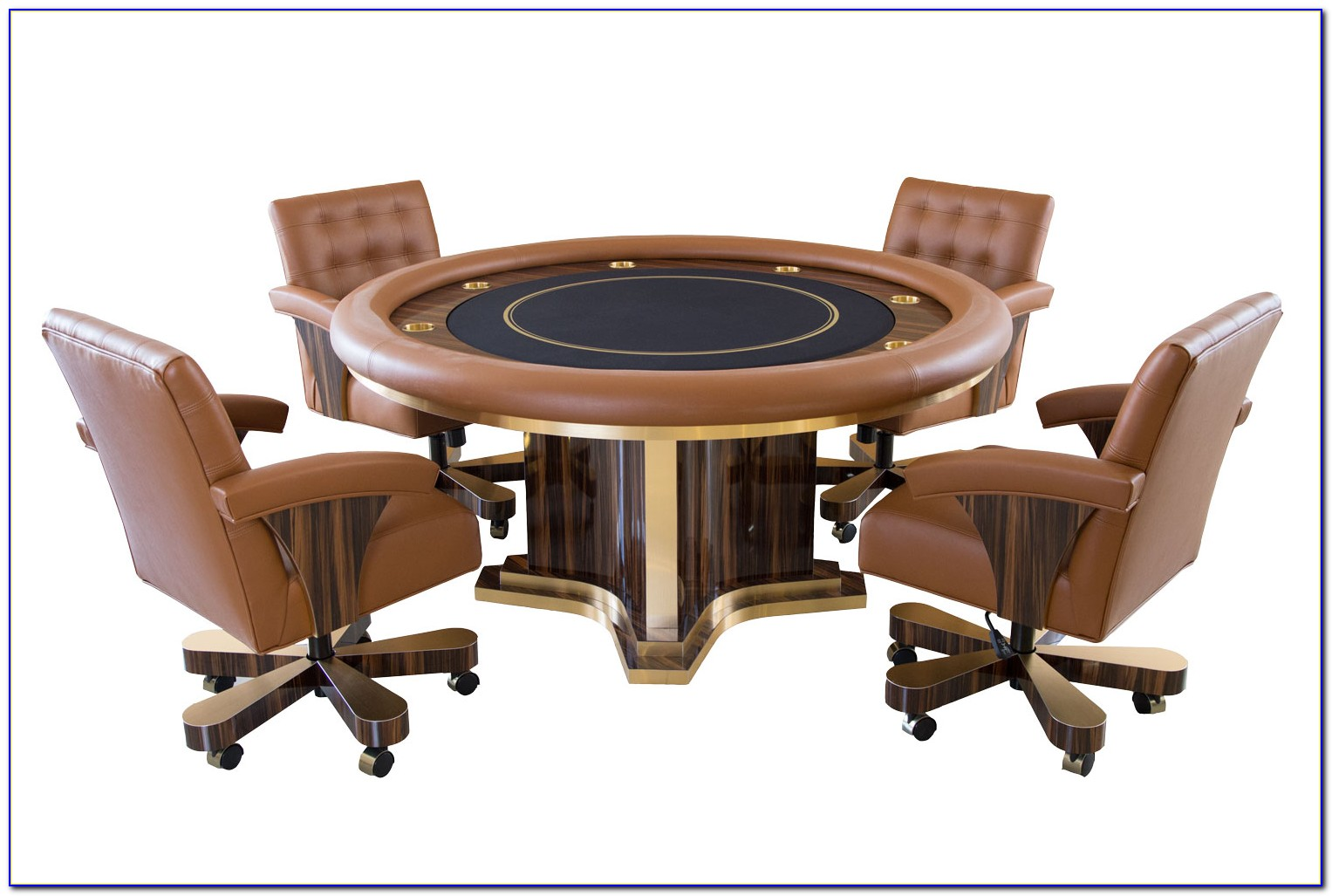 Poker Table With Leather Chairs