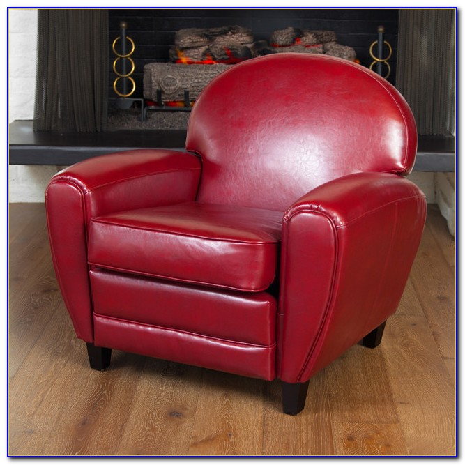 Red Bonded Leather Club Chair