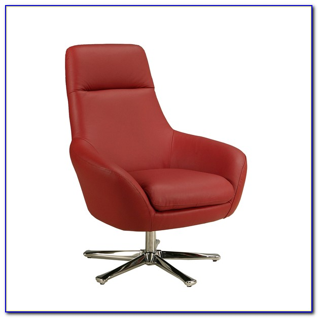 Red Leather Club Chair Swivel