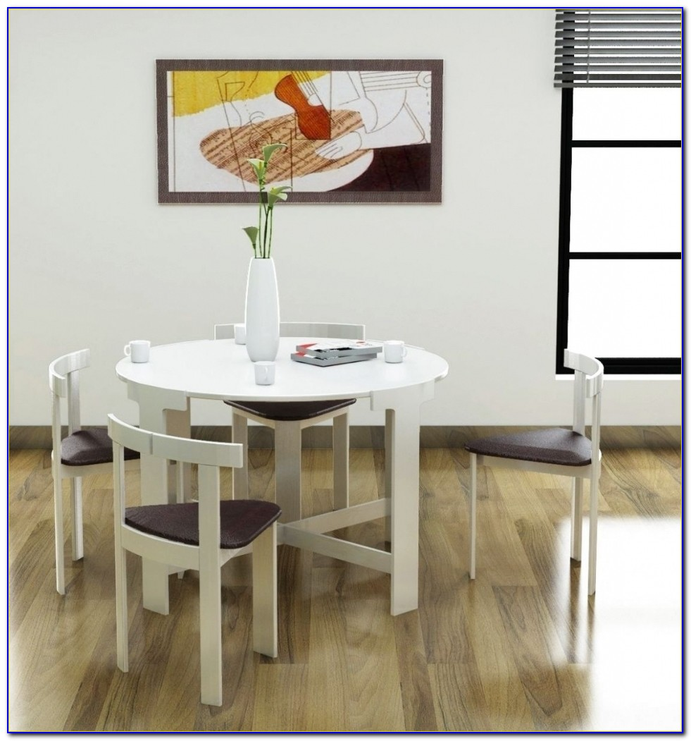 Round Space Saving Dining Table And Chairs