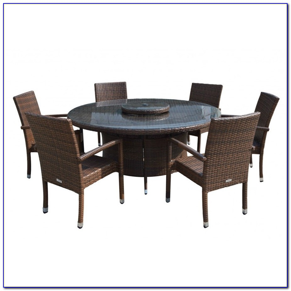 Round Table With 6 Leather Chairs