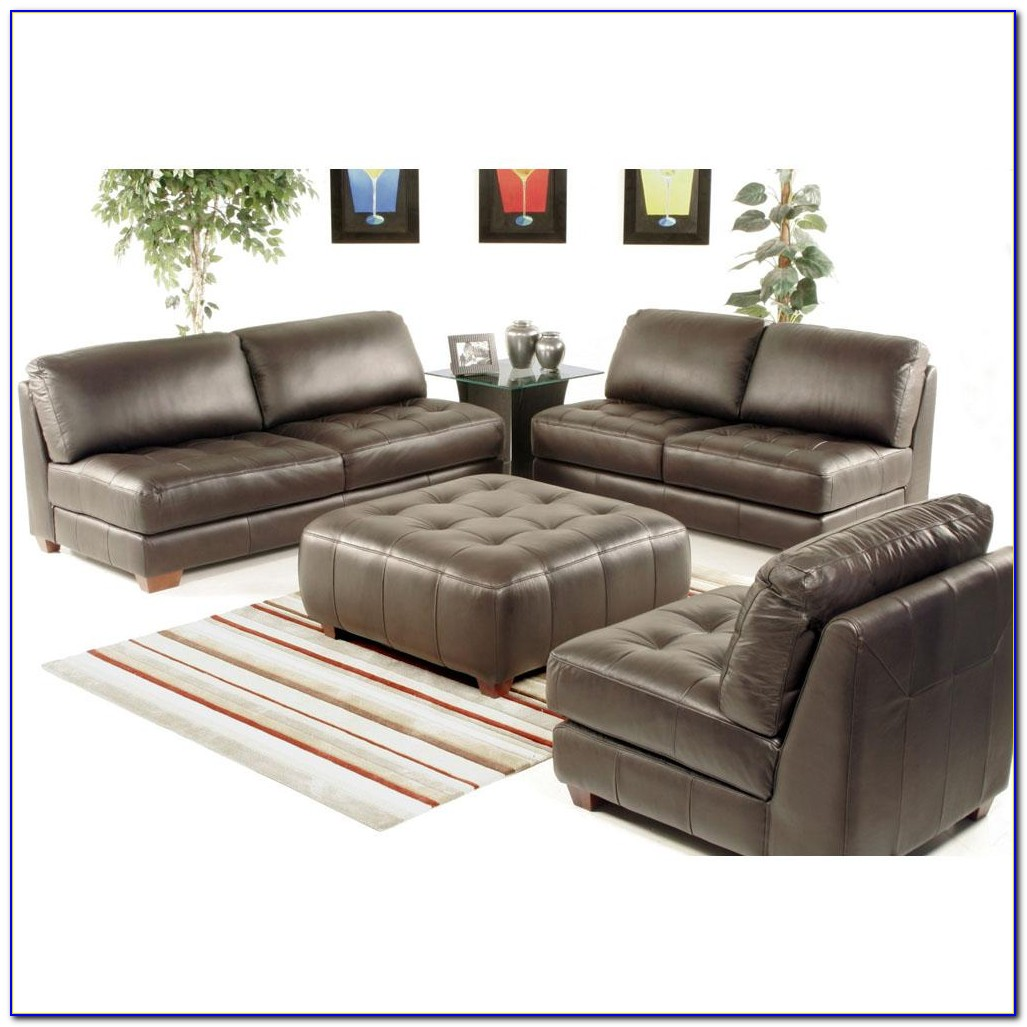 Sei Naples Leather Reclining Chair And Ottoman Set