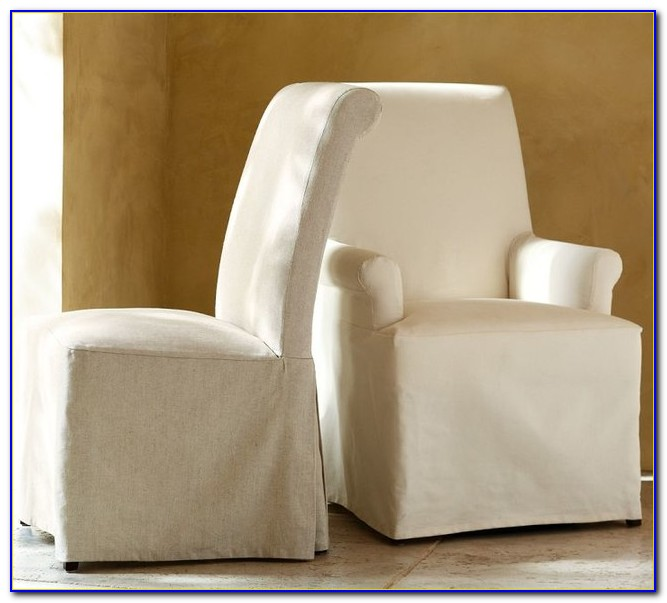 Slip Covered Dining Chairs With Arms