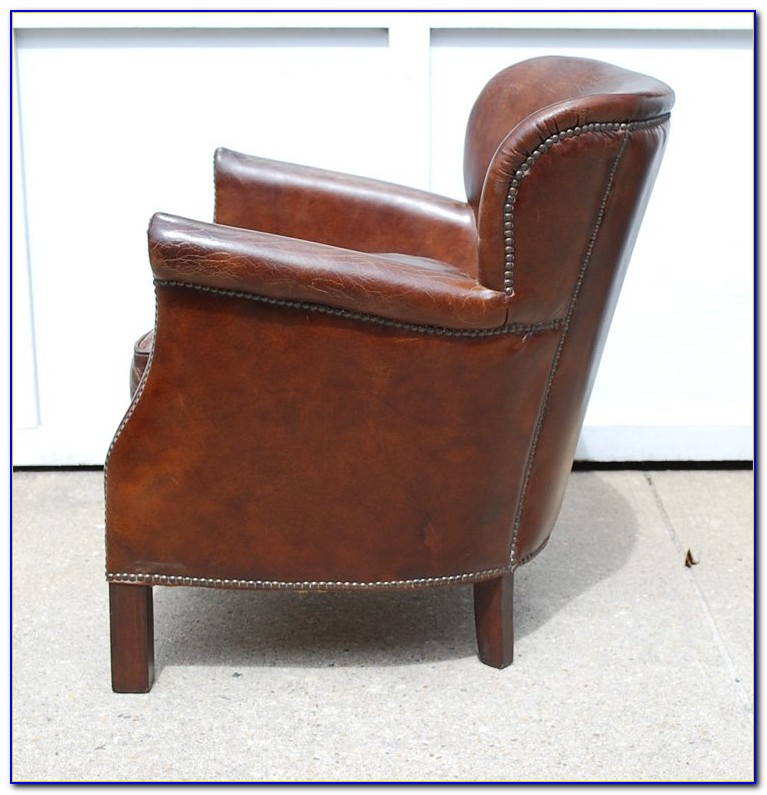 Small Distressed Leather Club Chair