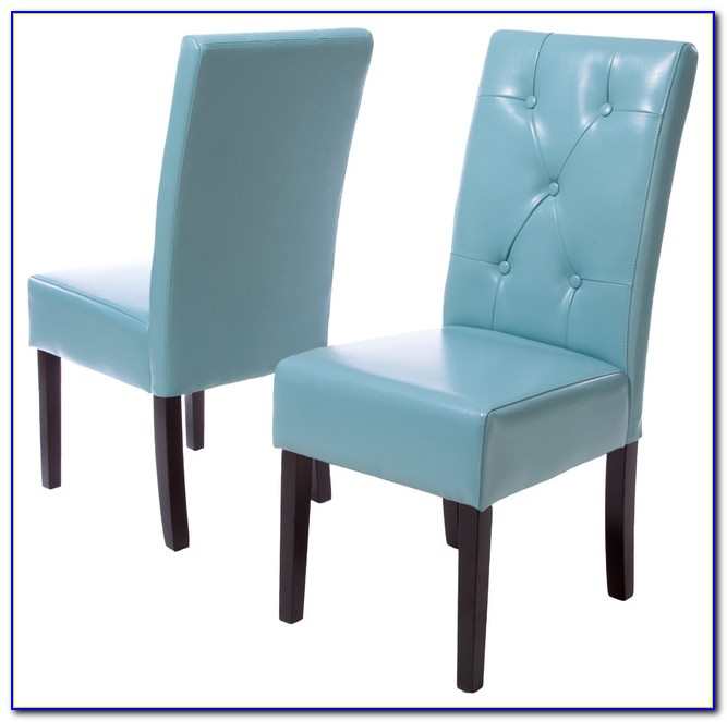 Teal Blue Leather Dining Chairs