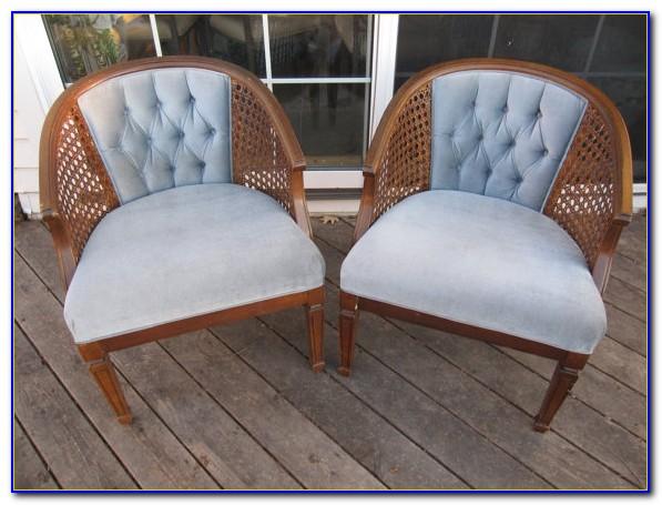 Vintage Cane Back Barrel Chairs