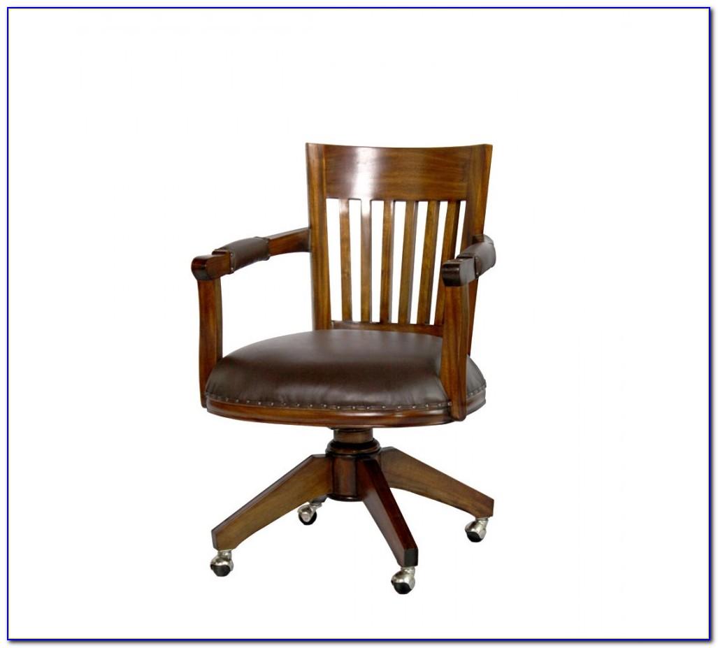 Vintage Wood Swivel Desk Chair