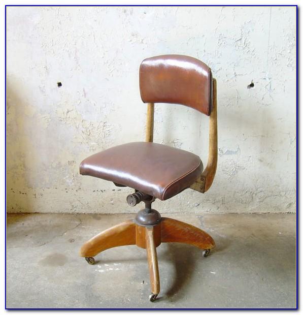 Vintage Wood Swivel Office Chair