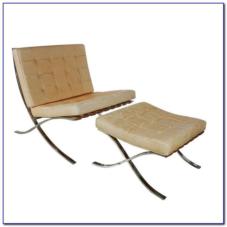 White Barcelona Chair And Ottoman