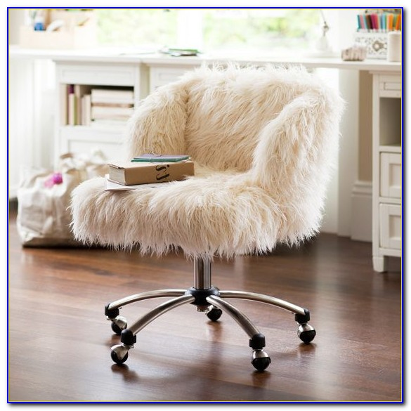 White Faux Fur Office Chair