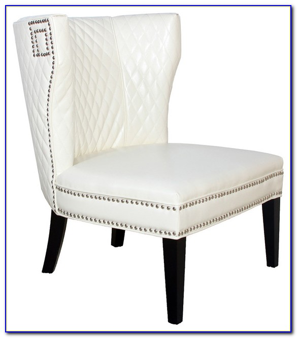 White Faux Leather Club Chair