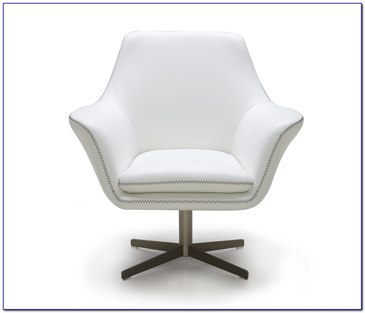 White Faux Leather Swivel Chair