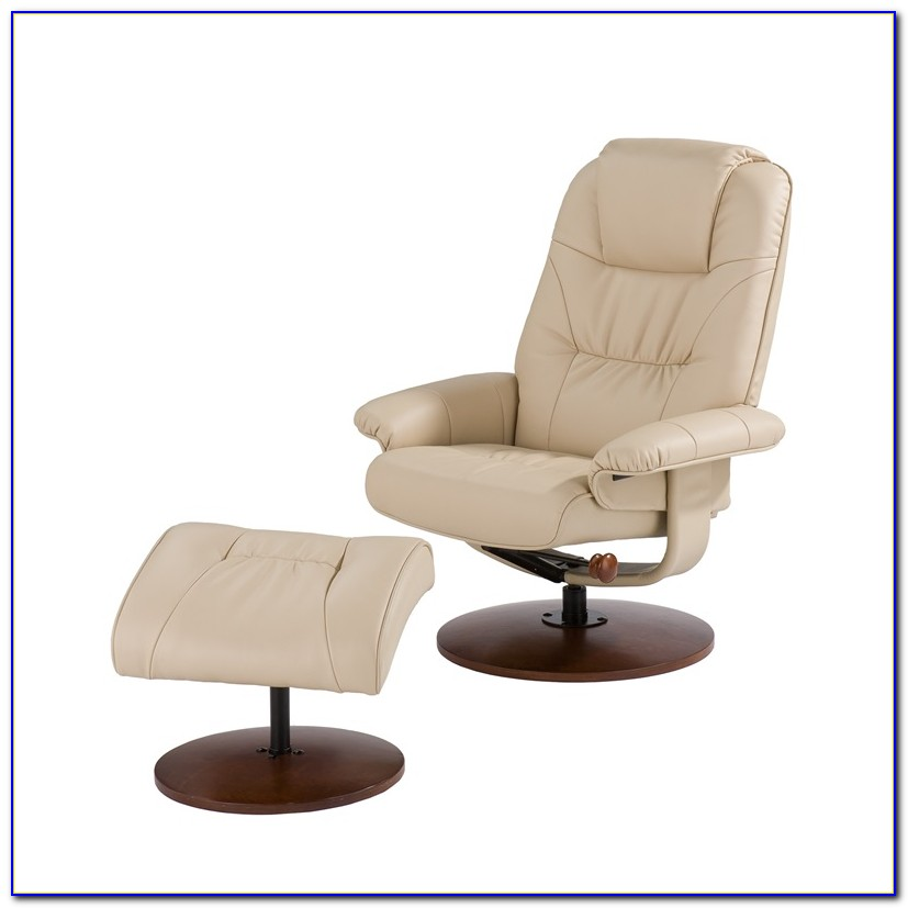 White Leather Chair And Ottoman Set