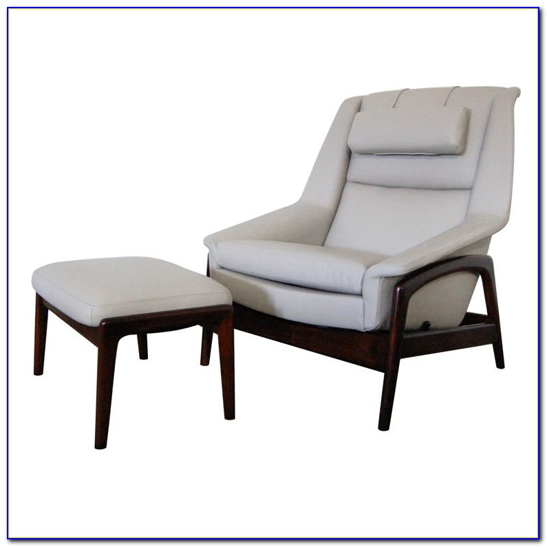 White Leather Mid Century Chair