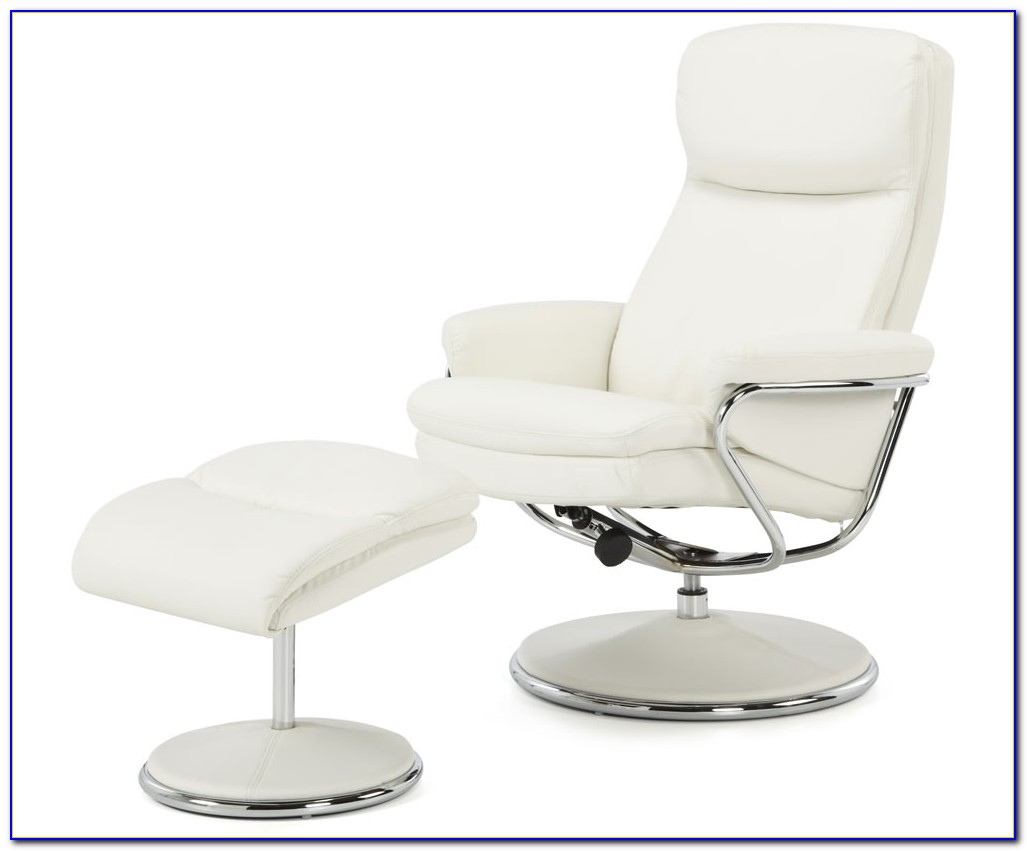 White Leather Recliner Chair With Footstool
