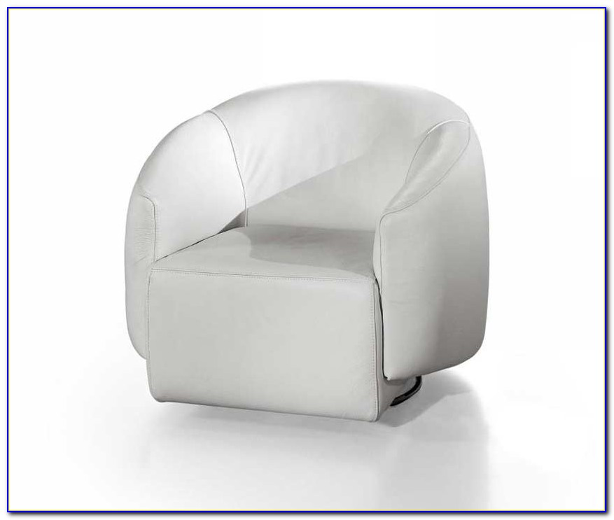 White Leather Swivel Chair And Footstool