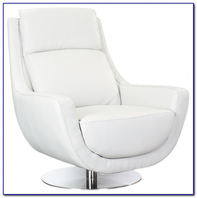 White Leather Swivel Desk Chair