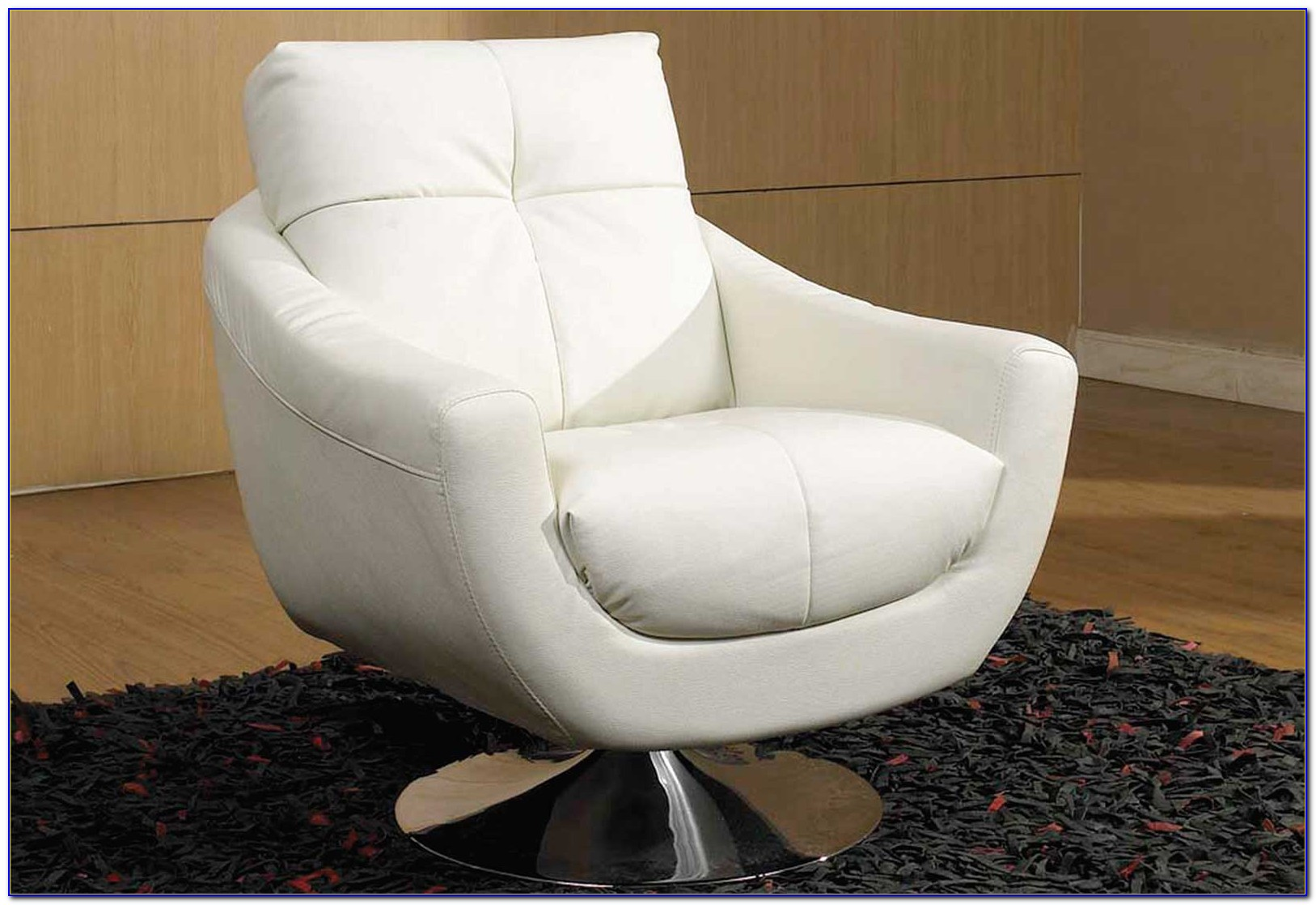White Leather Swivel Recliner Chair