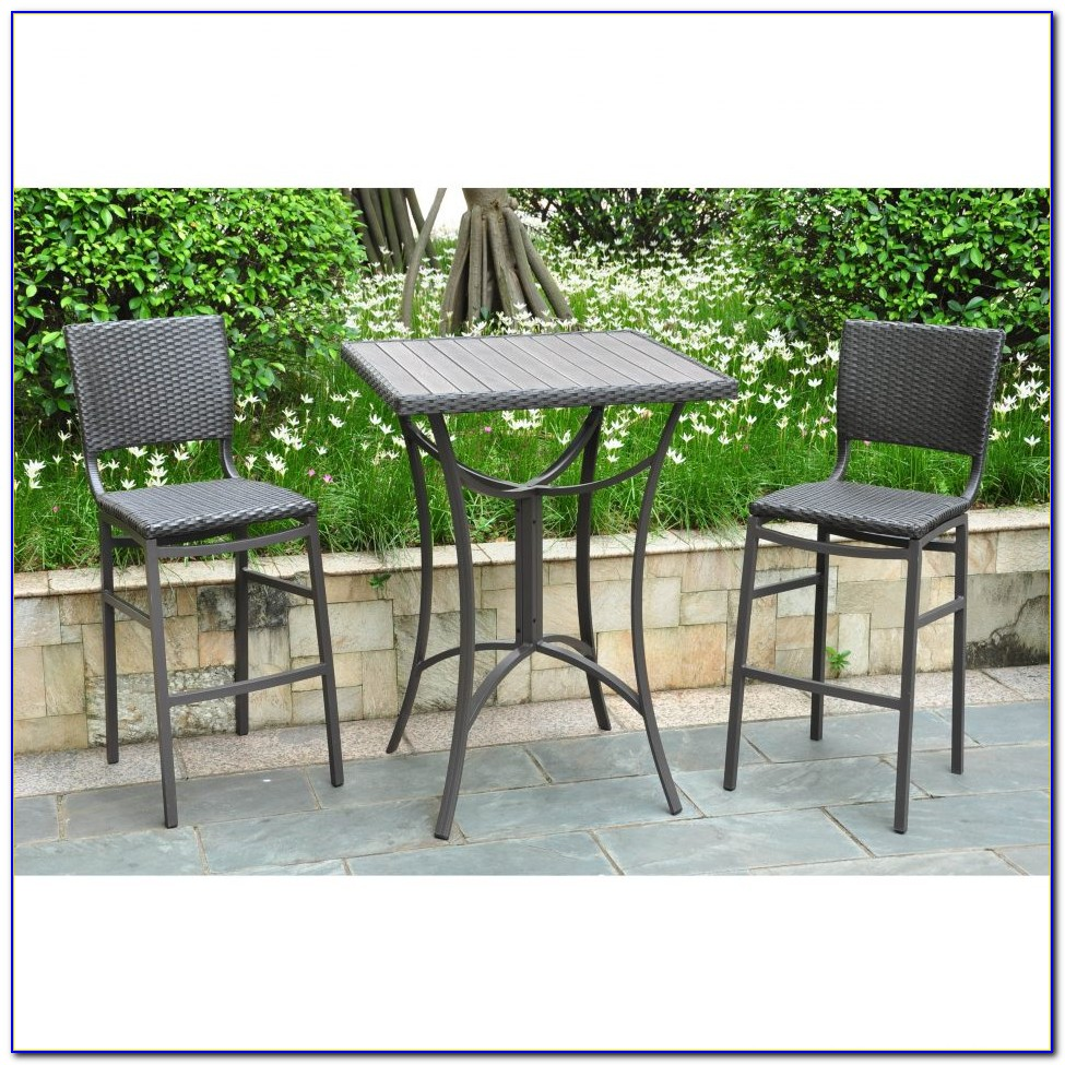 White Outdoor Bar Height Table And Chairs