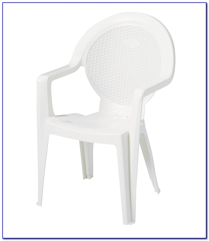 White Plastic Wicker Patio Chairs