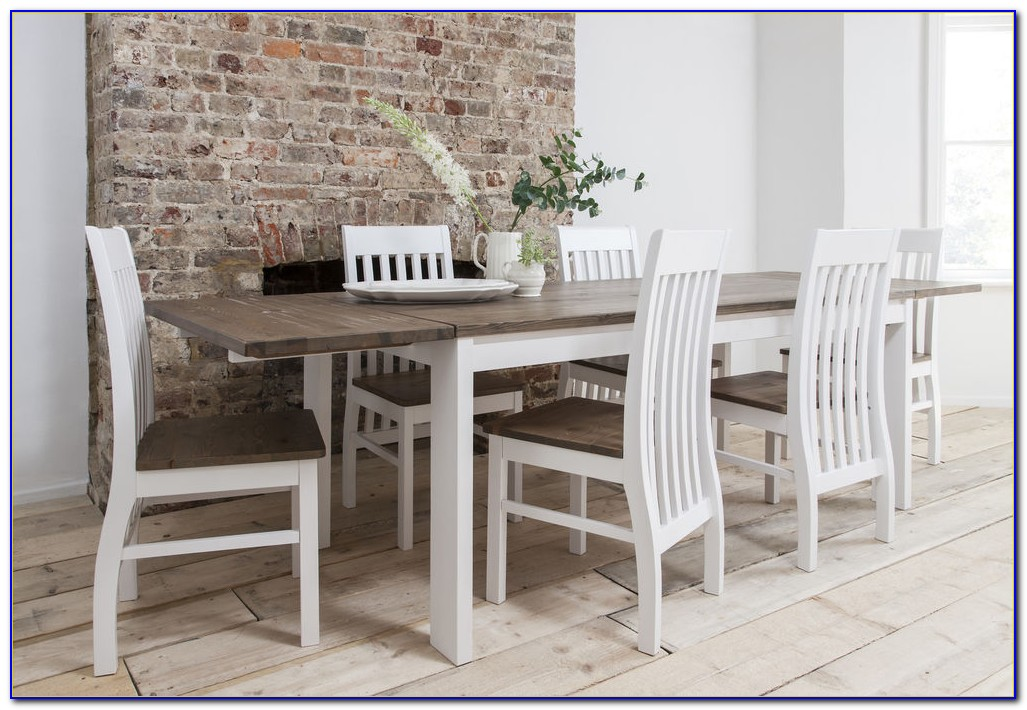White Wooden Dining Room Table And Chairs